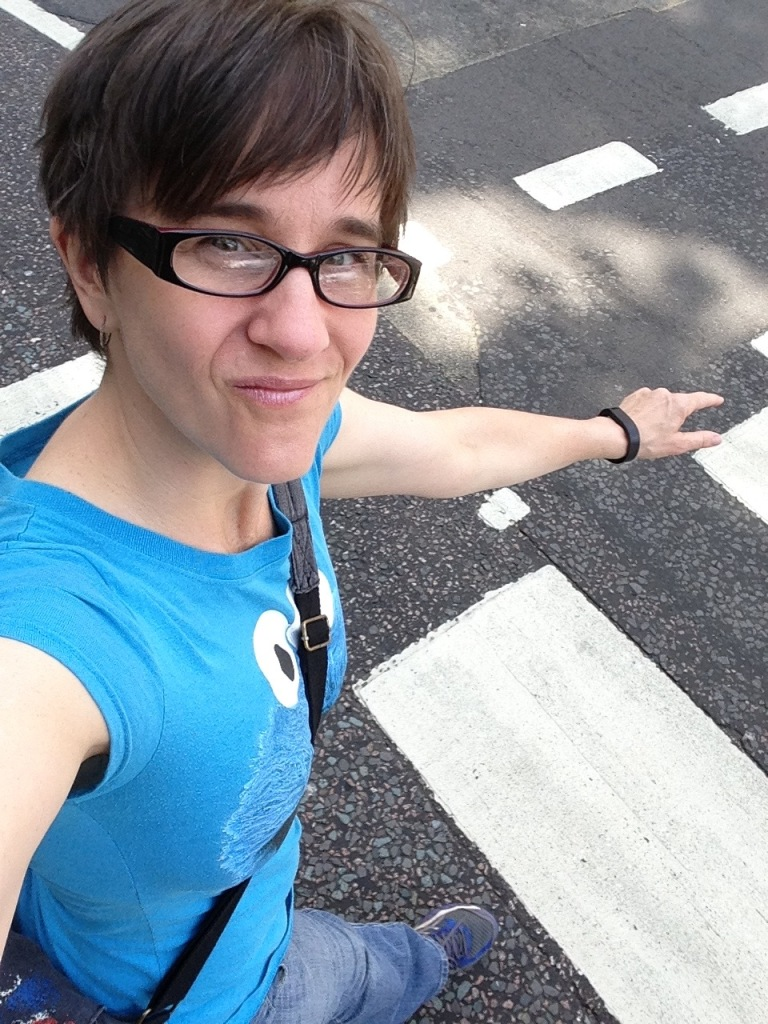 Christine crossing Abbey Road